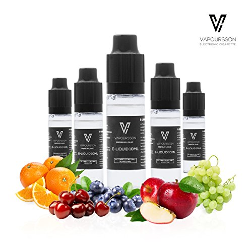 VAPOURSSON 5 X 10ml E Liquid - Fruit Burst, 0mg (Ohne Nikotin) - Pearl Grape - Florid Blue - Orange Punch - Great King - Kirsche | Neue Formel für starken Geschmack mit hochwertigen Zutaten -