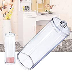 Frcolor Clear Acrylic Facial Beauty Makeup Cotton Pads Round Dispenser Container Holder with Lid