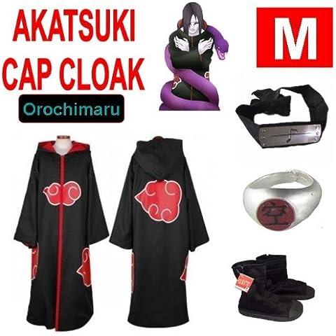Naruto costume cosplay Set per Orochimaru- Akatsuki Mantello incappucciato + anello Akatsuki Orochimaru+ fascia + scarpe Naruto Akatsuki , taglia M (altezza 160 cm-168 cm)