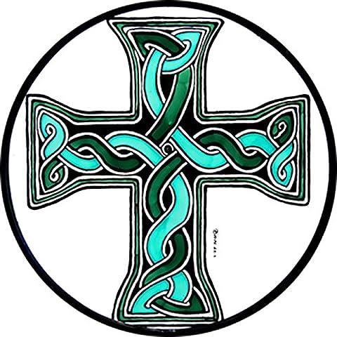 gebeizt Glas Fenster Kunst–statische selbst Dekoration–Grün Keltisch Donegal Kreuz