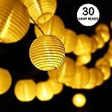 Guirlande Lumineuse, Lovebay Lanterne Guirlande Lumineuse Solaire, 30 LED 6M/ IP65 Etanche/ 2 Modes, Décoration Intérieur et Extérieur pour Jardins, Terrasse, Patio, Café, Lampion Parti (Blanc Chaud)