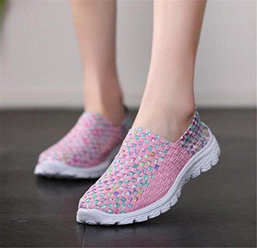 YEEY Frauen Gewebe Licht elastisch Trainer Komfort Slip Sport Schuhe Knitting Sportschuhe Schuhe komfortable Schuhe Pink