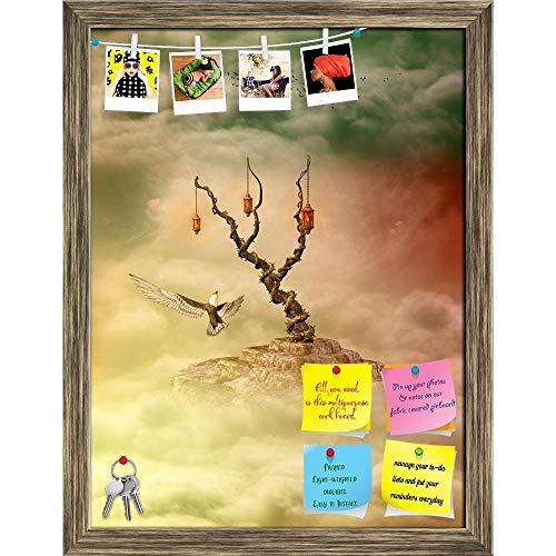 Artzfolio Fantasy Landscape In Sky With Eagle & Birds Printed Bulletin Board Notice Pin Board | Antique Golden Frame 16 X 21Inch