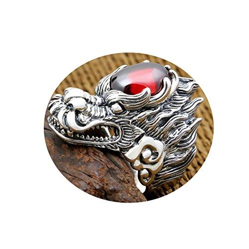 AnazoZ Schmuck 925 Sterling Silber Ringe Hochzeit Bands Herren Ring Drachen Kopf Ring Silber RotRing Größe 65 (20.7) (Band Herren Hochzeit Nerd)