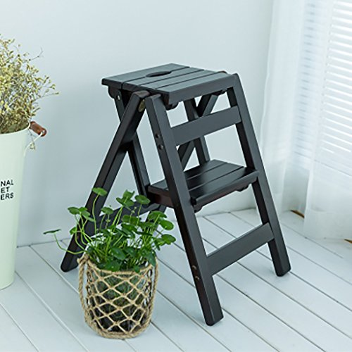 PENGFEI Pliable Stool Ladder Multifonction Usage Double 2 Étapes Bois Massif Noyer Foncé / Noyer Clair, 38 * 46 * 50CM ( Couleur : Deep walnut )