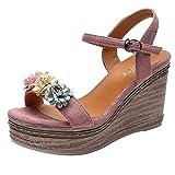 LEvifun Sandalias Mujer Verano 2019 Cuña Peep Toe De Cuña Abierta con Sandalias De Flores para Mujer Sandalias Mujer Verano Plataforma Zapatos Mujer Tacon Zapatos de tacón Mujer