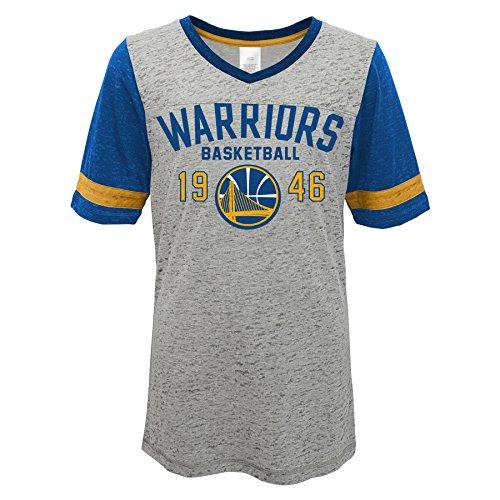 Outerstuff Teen-Girls NBA Krieger Junior Short Sleeve Fußball Burnout Tee, Short Sleeve Football Burnout Tee, grau meliert -