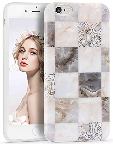 iPhone 6 Case, Imikoko iPhone 6s Case Flower Marble Design Slim Anti-Scratch Shockproof Cover Glossy Finish Flexible TPU Bumper Soft Phone Case for Apple iPhone 6/6s (4.7 Inch)(Mosaic Gray)