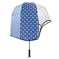 Rainshader Blue Polkadot Print Windproof Vented Canopy Dome Clear Front Umbrella Strong Lightweight with UV Protection for All Occasions Ergonomic Handle and includes Shoulder Strap