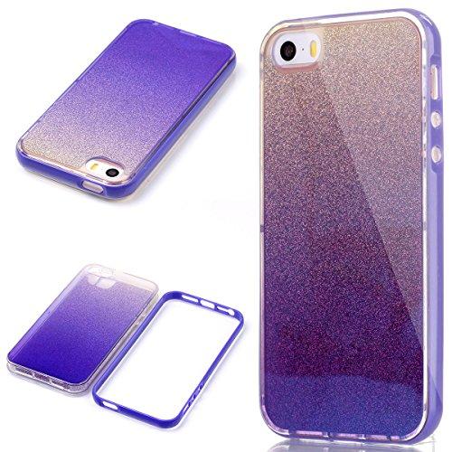 iPhone 5/5S/SE Cover Morbido Gomma, SMARTLEGEND UltraSlim TPU Silicone Layer Custodia con Bordo di Plastica (staccabile), Bling Glitter Case + Blu Trasparente Clear Caso Ultra Protettiva Antiurto Coperture - Porpora