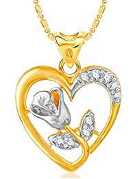 VK Jewels Rose In Heart Gold Plated Alloy CZ American Diamond Pendant With Chain For Girls & Women [VKP3056G]