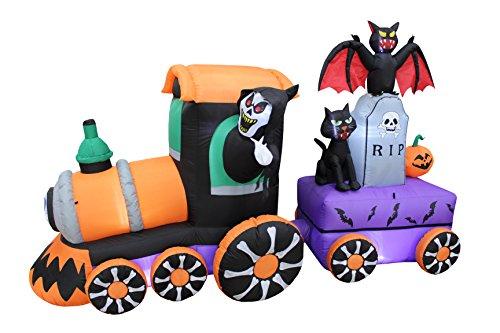 Blossom Inflatables 7Fuß Lang erleuchtet Halloween aufblasbar Grim Reaper Ride Zug mit Grabstein Katze Fledermaus Kürbis Indoor Outdoor Yard Art Dekoration