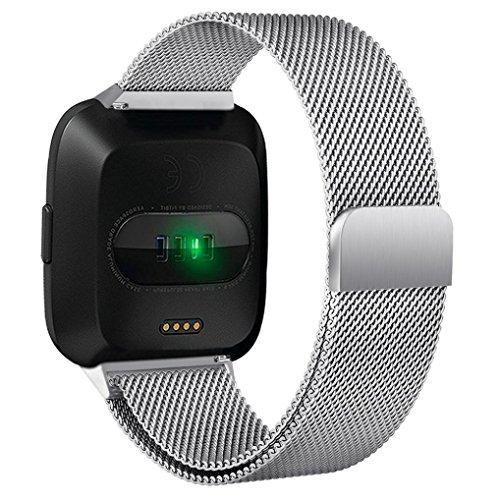 Signore orologio digitale, meibax® anello magnetico fascia in acciaio inox per fitbit versa elegante braccialetto originate cinturino sport fitbit charge 2 per small & large polsi acciaio inox braccialetto (soldi)