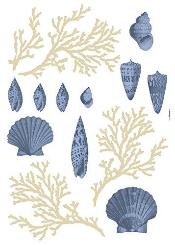 Komar - Deco-Sticker ATLANTIC - 50 x 70 cm -  Wandtattoo, Wandbild, Wandsticker, Wandaufkleber, Walltattoo, Meer, Muscheln, Korallen, Ozean, Wasser - 19701h