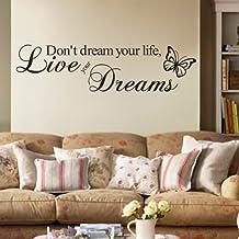 Blansdi PVC nero NON sognare la tua vita Vivi i tuoi sogni inglese Verbo Cita murale decelerazione Wall Sticker 15X57cm