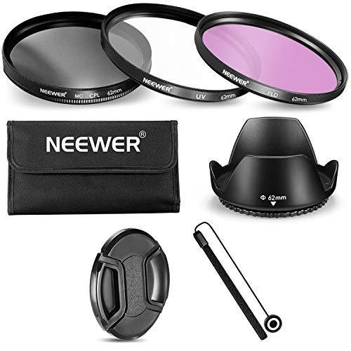 Neewer 10088173 Kit accessori per fotocamera con obiettivo 62 Filtro UV CPL FLD e Astuccio e Paraluce e Copriobiettivo