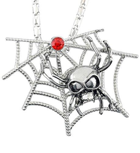 ette Spinnennetz und Spinne mit eingearbeitetem Totenkopf und Edelstein für Halloween (Spinne Halskette Für Halloween)