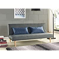Schlafsofa Sofabett Couch Bett Grau mit 2 Blaue Kissen preisvergleich bei kinderzimmerdekopreise.eu