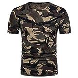 MRULIC Herren Casual Camouflage Print O-Ausschnitt Pullover Lange T-Shirt Top Bluse(B-Schwarz,EU-52/CN-L)