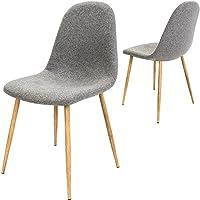 4X Chaise Design avec revêtement en Tissu - Gris Clair - Tendance et Moderne