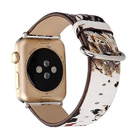 Apple Watch Lederband Ersatz Watch Band modernen chinesischen Tinte Gemälde Landschaft Gemälde für Handgelenk Band Ersatz Armband 38mm oder 42mm