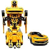 Shopperz Robot Mode Transformer Changeable To Car Toy For Kids (Yellow)