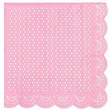 20 Elegante Papier-Servietten mit Weißem Spitzen-Perlen-Muster in Rosa