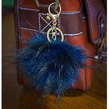 3per 2. 12cm Grande e morbida, in finta pelliccia Raccoon Stile POM POM grande designer oro chiusura portachiavi ciondolo, Navy Blue, large