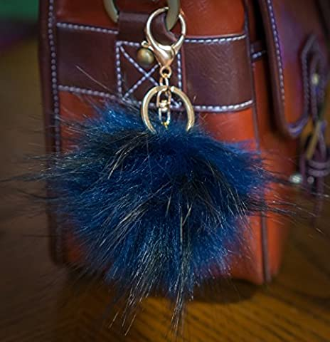 3pour 2. 12cm Grand Fluffy imitation/Fausse Fourrure raton laveur style Pom Pom Big Étui porte-clés fermoir or charme, bleu marine, grand