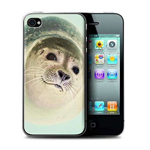 Stuff4® custodia/cover/caso/cassa rigide/prottetiva stampata con il disegno animale divertente meme per apple iphone 4/4s - sigillo curioso