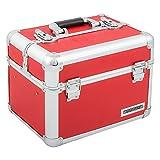 Kosmetikkoffer XL Aluminium-Rahmenkoffer Multikoffer Beauty Case für Nagelstudio - Nail Systems in Rot - 800014