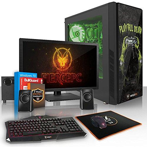 Fierce Hawk High-End RGB Gaming PC Bundeln - 3.8GHz Octa-Core AMD Ryzen 7 1700X, 1TB HDD, 16GB, NVIDIA GeForce RTX 2070 8GB, Win 10, Tastatur (QWERTY), Maus, 24-Zoll-Monitor, Lautsprecher 902089