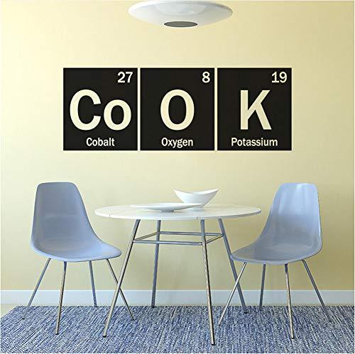 Waofe Périodique Table Cuire Wall Sticker Cuisine Décor Nouveau Design Cook Signe Vinyle Murale Restaurant Cuisine Mur Affiche Art 57X21Cm