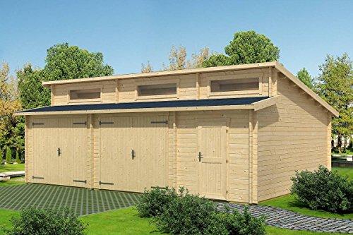 Holzgarage H29-44 mm Blockbohlenhaus, Grundfläche: 40,50 m², Stufendach