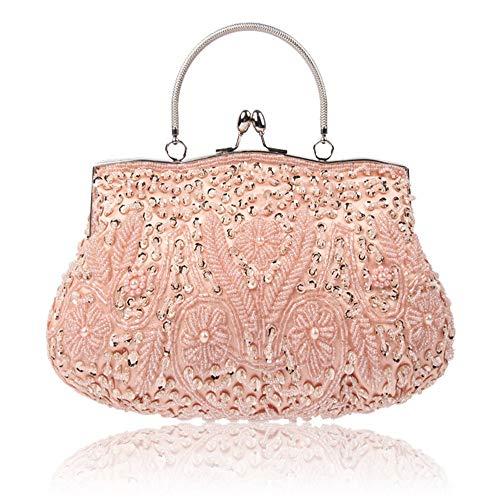 Borsa da sera da donna in raso borsetta da donna borsa da sposa per borsetta da sera vintage con paillettes e perline catena staccabile con pochette da sposa ( colore : rosa , dimensione : free size )