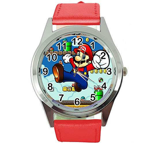 TAPORT® Mario Reloj de Cuarzo con Correa de Piel roja + batería de Repuesto + Bolsa