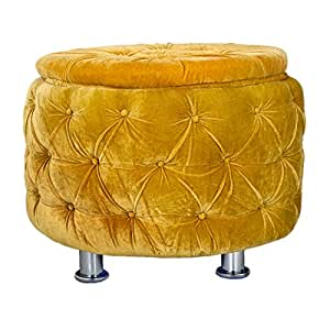 Puffy Sitting Stool Yellow Designer Pouffe Cushioned Stool for Living Room/Office/Kitchen/Puffy Stool (Yellow - Color) by Sajid Puffs XL