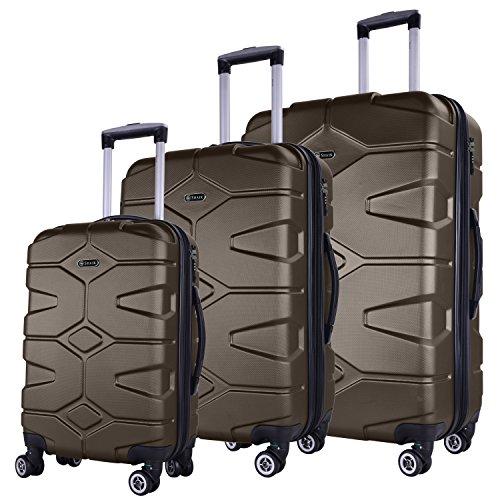 SHAIK SERIE RAZZER SH002 3-tlg. DESIGN PMI Hartschalen Kofferset, Trolley, Koffer, Reisekoffer, 50/80/120 Liter, 4 Doppelrollen, 25% mehr Volumen durch...