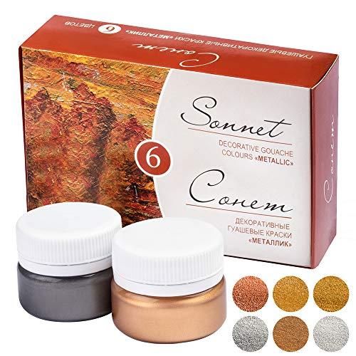 Sonnet Metallic Gouache Farben Set | 6 x 20 ml Näpfchen | Steine Bemalen, Papier, Leinwand Künstler und Bastel Farbe