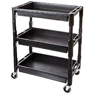 ATD Tools 7017 Heavy-Duty Plastic 3-Shelf Utility Cart by ATD