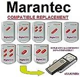 Marantec Digital 211/212/214/221/222/224/231/232kompatibel Clone Fernbedienung Ersatz Transmitter, 433,92MHz fixed code clone.