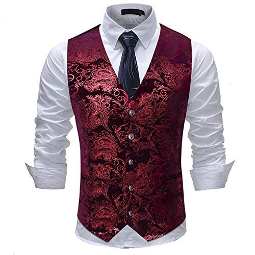 Allthemen Herren Jacquard Anzugweste für Party und Hochzeit Rot Large