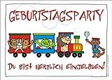 6er-Set lustige Einladungskarten mit Zug, Tieren und Schaffner zum Kindergeburtstag oder zur Party von ArtUp