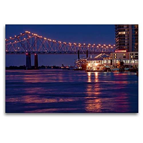 Calvendo Premium Textil-Leinwand 120 cm x 80 cm quer, New Orleans River Walk | Wandbild, Bild auf Keilrahmen, Fertigbild auf echter Leinwand, Leinwanddruck Orte Orte - Mississippi-brücke