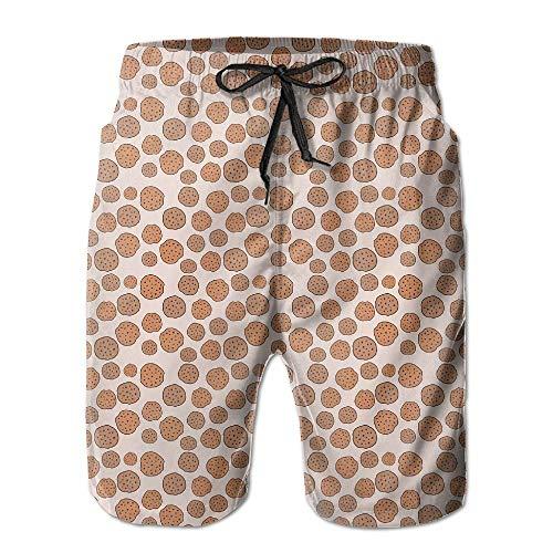 RAINNY ZR-Go Men's Cute Cookies Pattern Quick-Dry Summer Beach Surfing Board Shorts Swim Trunks Cargo Shorts M