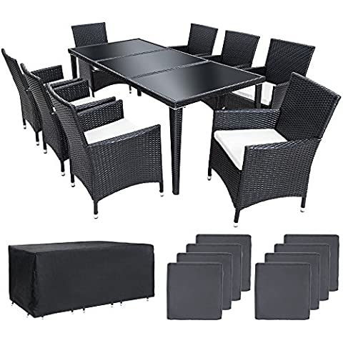 TecTake Conjunto muebles de jardín en aluminio y poly ratan 8+1 color negro con set de fundas intercambiables