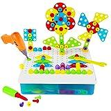 YAKOK 191 Stück 3D Kinder Mosaik Steckspiel, Schrauben Puzzle Spielzeug Werkzeuge Spielzeug Baby Lernspielzeug für Kinder Kleinkind ab 2-5 Jahre, 40*8*25.5CM