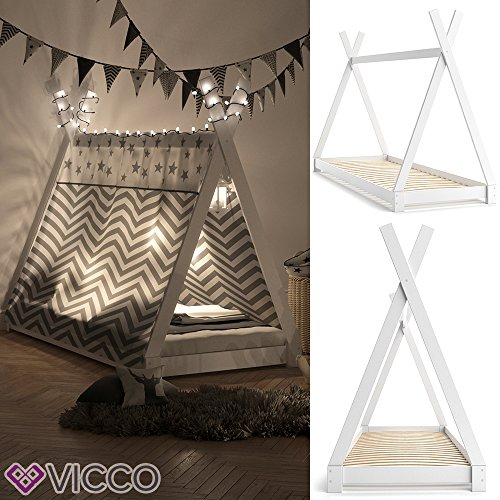 VICCO Kinderbett TIPI Kinderhaus Indianer Zelt Bett Kinder Holz Haus Schlafen Spielbett Hausbett 90x200 (weiß) - 2