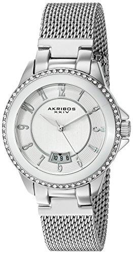 Akribos XXIV Femme Montre à quartz avec cadran argenté, affichage analogique et bracelet en acier inoxydable Argenté ak840ss