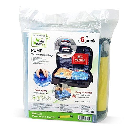 Wonder Worker PUMP Kit 6 Bolsas EXTRA GRANDES Almacenamiento
